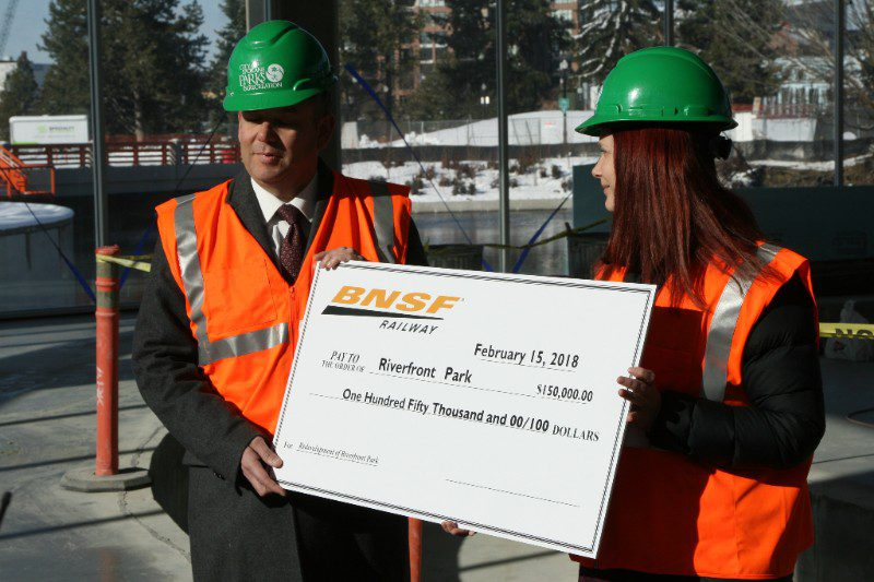 BNSF Railway Foundation helped Spokane Mayor David Condon kick off a fundraising campaign for the Spokane Riverfront Park by donating $150,000